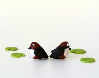 Bird Dipper post earrings - Spring jewelry handmade - European birds - black and brown - Pond creatures