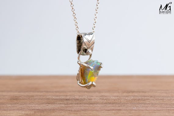 Fiery Multicolored Rough Ethiopian Opal Gemstone Necklace in Sterling Silver
