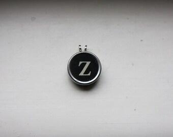 Vintage Typewriter Key Letter Z Pendant on Ball Chain