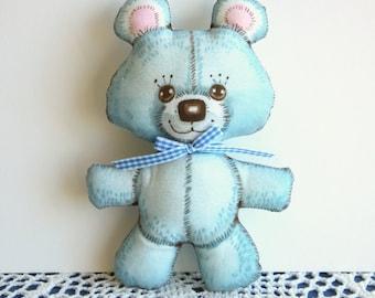 Retro teddy bear, blue bear softy, plush bear made from vintage fabric