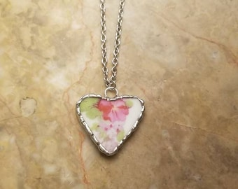 Broken China necklace. Broken China jewelry. Broken China pendant. Heart jewelry. Heart necklace
