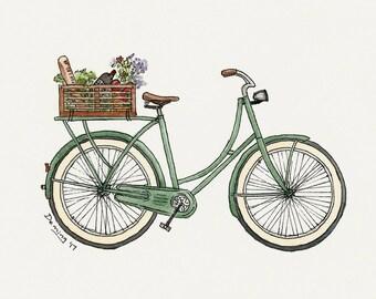 Market Bike - Watercolor Print - Bicycle Art- Art Print- Watercolor