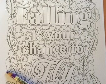coloring page from the inpirational book , digital download coloring page, inspirational coloring, coloring for adults