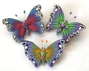 Butterfly Brooches Tutorial, Polymer Clay Tutorial, PDF Tutorial, Butterfly Tutorial, Brooch Tutorial, Code:BBTut.