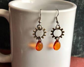Steampunk Earrings, Steampunk Jewelry, Gear Earrings, Gear Jewelry, Steampunk Gears, Clockwork Earrings