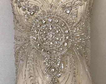 Rhinestone Beaded Applique, Rhinestone Fabric, Beaded Applique, Wedding Dress Applique, Beaded Tulle, Wedding Fabric, Bridal Applique