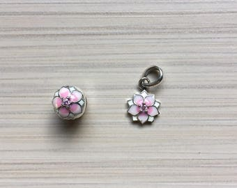 Beautiful charms / Pink Flower / Silver 925