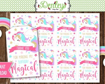 INSTANT DOWNLOAD: Unicorn Favor Tags, Unicorn Gift Tags, Unicorn Party Tags (UN02)