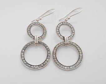 Bali Sterling Silver double rings dangle Earrings / 2.25 inches long / silver 925 / Balinese handmade jewelry / (#102K)