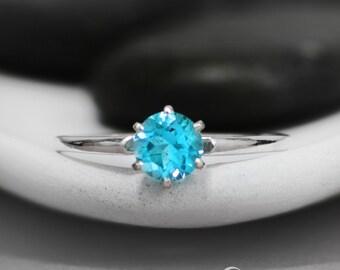 Blue Silver Promise Ring - Sterling Silver Blue Topaz Ring - December Birthstone Ring - Sky Blue Promise Ring - Blue Topaz Engagement Ring
