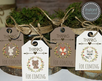 Woodland favor tags printable, woodland baby shower tags, woodland birthday favors, thank you tags, woodland animal favors
