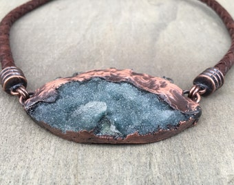 Druzy Necklace Leather Choker Necklace Leather Necklace Healing Crystal Necklace Daniellerosebean Brown Leather Necklace
