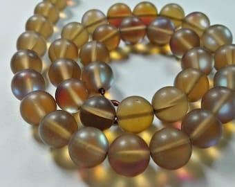 1 Full Strand Matte Mystic Aura Quartz Beads , 6mm 8mm 10mm 12mm Holographic Quartz Beads , Gemstone Beads