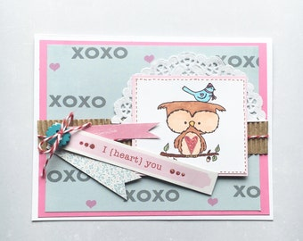 Happy Valentine's Day Greeting Card - Owl Handmade Paper Card with Coordinating Hand Stamped Embellished Envelope