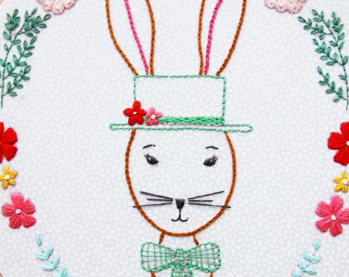 Rabbit Portrait PDF Embroidery Pattern