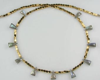 Labradorite Ribbon of Gold Necklace