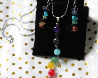 Colorful bead necklace with matching earrings