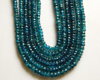 Apatite Rondelles, Faceted Blue Apatite Beads, 4mm Faceted Beads, 14 InchStrand