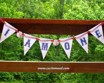 Baseball First Birthday Banner, Baseball I Am One Banner, First Birthday Banner, Baseball Party Decor, Sports Party Decorations, Pennant