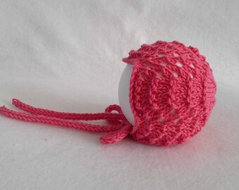 RTS Coral pink hand knitted baby girl bonnet, unique and cute hat for newborn, knit photo prop