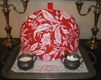 ON SALE!!!  Was 25.00   =   Tea Cozy, English Style, Red and White Print, Warmer, Insulator