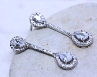 Silver Earrings, CZ Earrings, Wedding earrings, Fancy Earrings on Sterling Silver and cubic Zirconia, long Earrings, Earrings jewelry