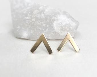 Gold V Earrings ~ Tiny Brass Geometric Peak Stud ~ Minimal Everyday Post Earrings