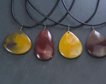 mookaite jasper jewelry, natural mookaite jasper drop pendant, teardrop gemstone pendant necklace, handmade stone pendant