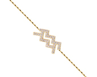 Pave Aquarius Bracelet-Yelow Gold