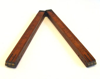 """Vintage Wood Folding Ruler #65 1/2  folds to 3 1/4"""" inches Carpenters ruler 12"""" with brass fittings D 1930's"""