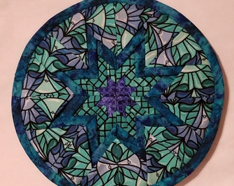 Turquoise Stained Glass Pattern Potholder