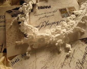 off white lace trim, necklace lace, jewelry lace, cascadding lace, cotton lace fabric, antique lace, vintage lace, 2 yards