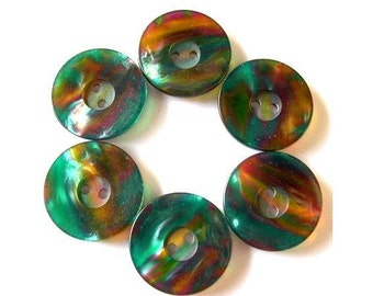 6 Vintage plastic buttons, green with unique assorted colors inside, 22mm, can be use as beads for button jewelry