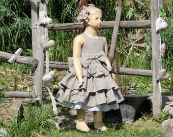 Flower girl dress, rustic country flower girl dress, ruffle linen flower girl dress with sash, woodland wedding, faux burlap girls dress