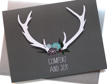 Christmas Cards / Holiday cards - Set of 8 - Botanical Antlers Comfort and Joy