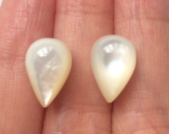 White Mother of Pearl MOP Upside down Half Drilled Acorn Drops 8x12 mm One Pair J5700