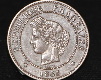 1885 A France 5 Centimes coin