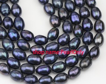 9-10mm black color freshwater drop pearl strand,rice oval pearl bead,0.8mm,1.0mm,1.5mm,1.8mm,2.0mm,2.2mm,2.5mm,2.8mm,3.0mm,large hole pearls
