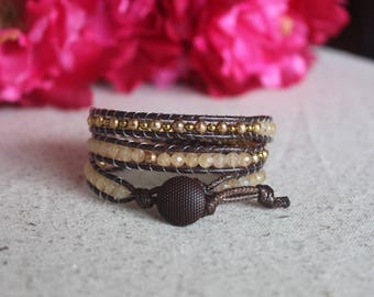 Brown Leather Wrap Natural Stone Bracelet
