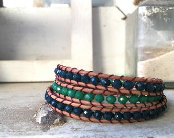 Wrap leather bracelet dark blue and green