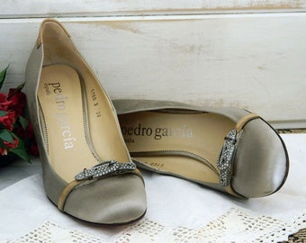 Pedro Garcia Espana Gray Satin Evening Heels