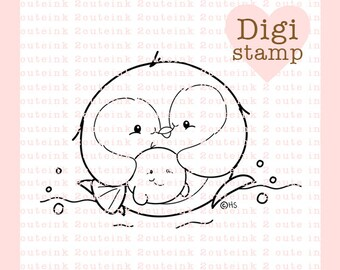 Penguin Buddy Digital Stamp for Card Making, Paper Crafts, Scrapbooking, Stickers, Coloring Pages, Line Art