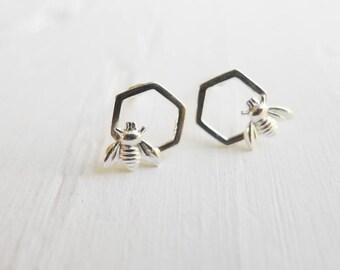 Honeycomb Earrings Bee Studs on Honey Comb Hexagons Sterling Silver Cute Earings