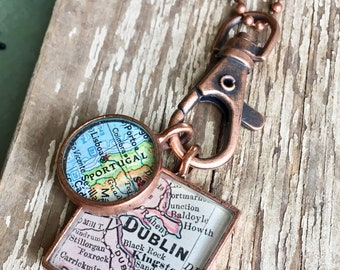 Boyfriend Necklace Map Pendants in Brushed Copper,Custom Order, Map Jewelry, Set of 2 Pendants, Clip and Chain