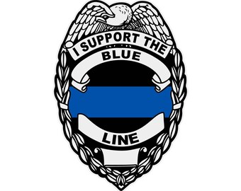 I Support The Blue Line Reflective Badge Decal Sticker In Support Of Law Enforcement Police Sheriff Thin Blue Line For Car Or Truck Windows
