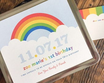 Time Capsule, baby keepsake, wedding time capsule, birthday, rainbow, birds, bunting flags, metal lunchbox, personalized