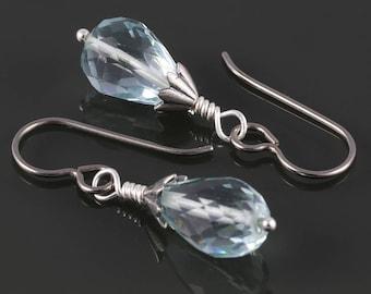 Genuine Aquamarine Earrings. Titanium Ear Wires. Genuine Gemstone. Drop Earrings. March Birthstone. f17e040