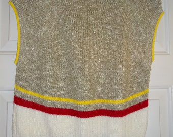 Vintage Sweater Vest Pullover Small Sleeveless Cardigan Toppers Striped Sweatervest Women's