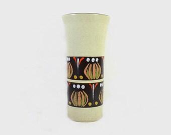 Vintage Vase West Germany Green Dümler Breiden Abstract Onion Pattern