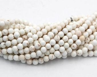 4mm Golden Matrix Creamy White Magnesite Faceted Round Beads -15.5 inch strand